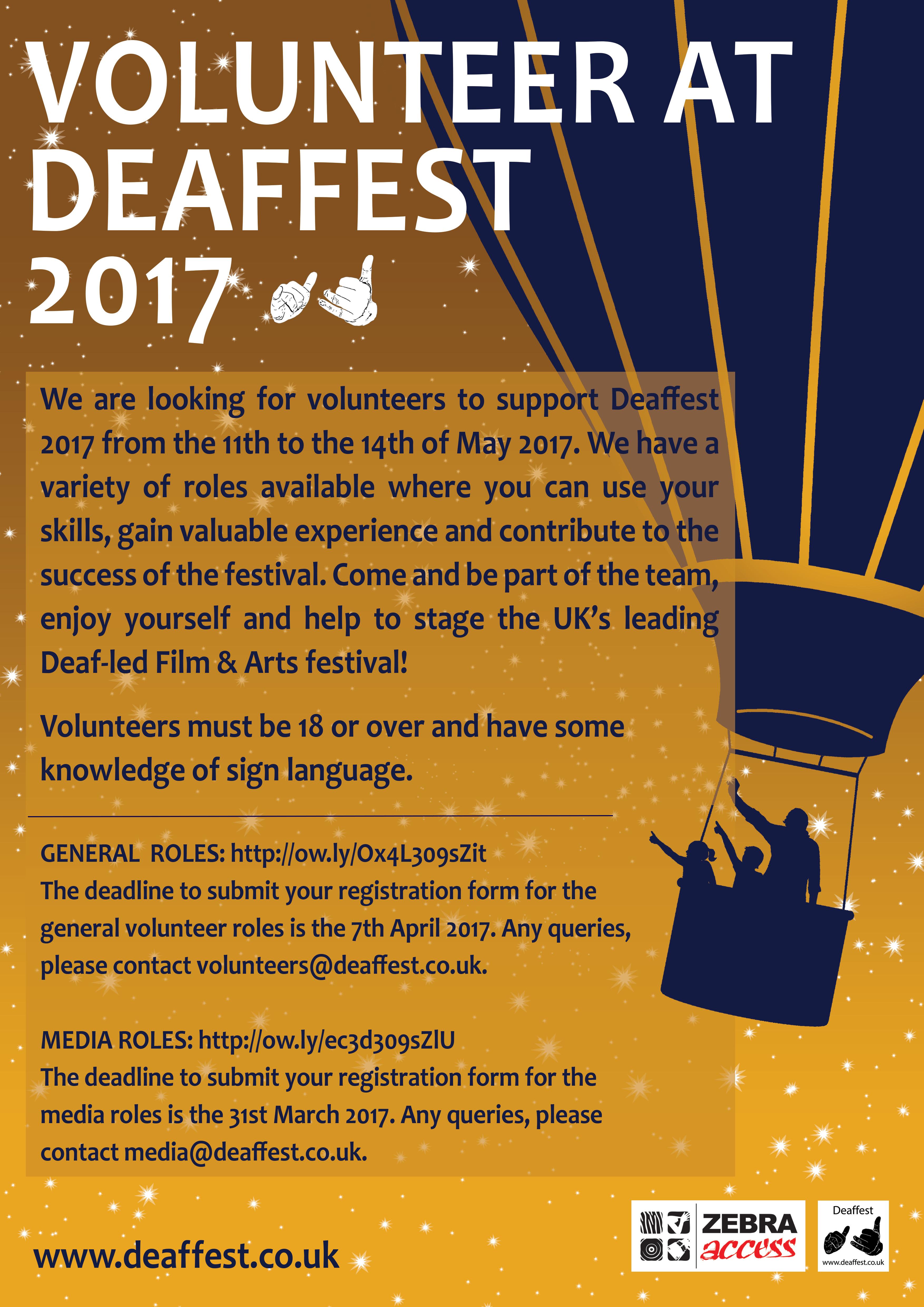 Poster design volunteer - Volunteer At Deaffest 2017 The Uk S Leading Deaf Film Arts Festival