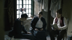 Deaf Victorians - drama reconstruction of Jane Groom (c) meeting with Amelia (l) and Skirving Thomson (r)